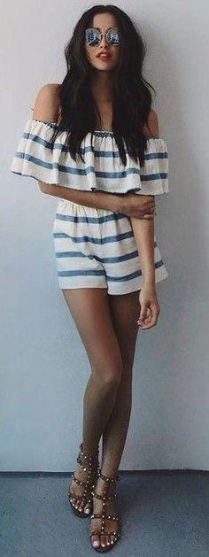 #popular #shay #mitchell #outfits | Stripe Bardot Playsuit