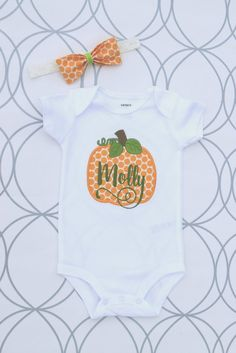 Your place to buy and sell all things handmade Little Girl Names, Little Girls, Monogram Onesies, Pumpkin Outfit, Polka Dot Fabric, Lace Headbands, Matching Shirts, Shirts For Girls