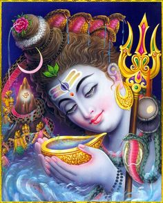 Shiva drinks poison to save the world.