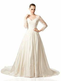 Artwedding Long Sleeves Ball Gown Satin Wedding Dress