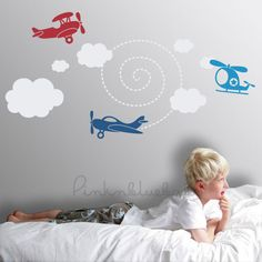 Kids Decor Planes Up In the Air Nursery Wall by pinknbluebaby, $45.00