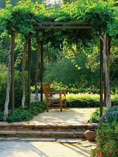 Kletterpflanzen Grüne-wand Sonnensegel Holzkonstruktion | Pergola ... Pergola Bepflanzen Kletterpflanzen