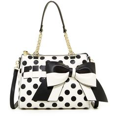 Betsey Johnson Gift Me Baby Polka Dot Satchel ($50) ❤ liked on Polyvore