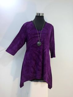 Plus size 1X & 2X purple tie dye tunic top with sharkbite hemline, V-neck in bamboo blend fabric. by qualicumclothworks on Etsy