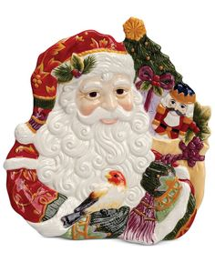 Closeout! Fitz and Floyd Regal Holiday Santa Canape Plate