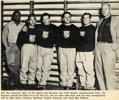 The 1946 World's Championship Team: Davis, Ishikawa, Spellman, Terpak, Stanczyk, and Coach Bob Hoffman