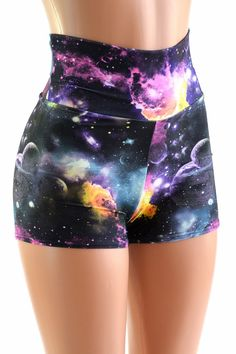 Waist Space Shorts These adorable high waist shorts have four way stretch for a great fit, and a boy cut leg. They are made of lycra spandex, in a gorgeous UV Glow galaxy print. Galaxy Shorts, Galaxy Outfit, Rave Outfits, Cool Outfits, Fashion Outfits, Fashion Goth, Spandex Shorts, Lycra Spandex, Jupe Short