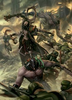 Dark Eldar Haemonculus alongside him are his Wrack assistants and a Grotesque in the background. Harmonculii usually accompany their employing Kabal on raids in order to find more test subjects