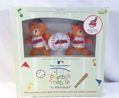 Cleveland Indians MLB Baby Musical Baseball Crib Mobile Teddy Bears Mascotopia #BabyMobile #ClevelandIndians