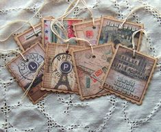 Sweetly Scrapped: New tags, journaling cards and place cards in the shop Junk Journal, Journal Cards, Paper Tags, Diy Paper, Paper Crafts, Vintage Tags, Vintage Paper, Vintage Ephemera, Handmade Tags