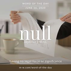 'Null' is the #wordoftheday . #language #languagelearning #merriamwebster #dictionary Merriam Webster, Word Of The Day, Some Words, Creative Writing, Vocabulary, Language, Mindfulness, Facts, Education