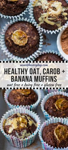 Oat Carob Banana Muffins make a sweet healthier snack or afternoon tea time treat! This easy recipe combines #glutenfree wholegrain oats with buckwheat flour, carob and banana for tasty, nourishing, soft muffins. #healthysnack