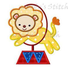 Circus lion applique machine embroidery design by WendysStitch