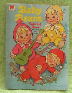 BABY BEANS Coloring Book 1973 Mattel UNCOLORED Paper Dolls BITTY BOOFUL Vintage