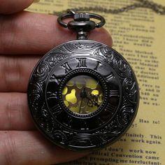 Cindiry Brand Black Gray Roman Dial Quartz Vintage Antique Pocket Watch Necklace Watches With Chain pocket watch P20