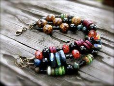 Multi Strand Organic Beaded Bracelet Labradorite by KissOfVenus
