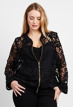 Embroidered Lace Bomber Jacket - Anna Scholz Plus Size Clothing