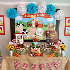Mcdonalds Birthday Party, 2nd Birthday Party Themes, Birthday Backdrop, Boy Birthday Parties, Birthday Party Decorations, Farm Animal Birthday, Cowboy Birthday, Farm Birthday, Farm Themed Party