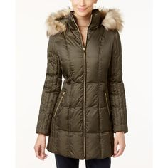 Inc International Concepts Faux-Fur-Trim Quilted Puffer Coat, ($208) ❤ liked on Polyvore featuring outerwear, coats, military green, olive coat, army green puffer coat, olive green puffer coat, inc international concepts and brown faux fur coat