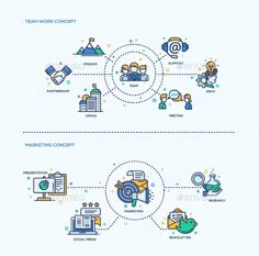 Team Work, Marketing  Icons Business Concept