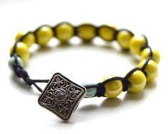 Yellow bracelet Porcelain shamballa Yoga by AnasPinkCorner on Etsy