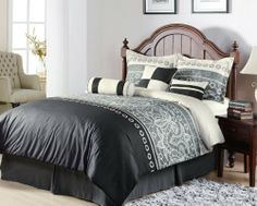"""7Pcs King Eiffel Black and Grey Bedding Comforter Set by KingLinen. $59.99. This charming bedding set with contemporary print creates a sophisticated look for your bedroom, 3 unique decorative pillows furtherenhance the look .FeaturesColor: Black / Grey / Off whiteSize: KingMachine Washable Matching curtains availableThis set includes:1 Comforter (104""""x92"""")2 Shams (20""""x36""""+3"""")1 Bed Ruffle (78""""x80""""+15"""")1 Neckroll (7""""x18"""")1 Breakfast Cushion(12""""x18"""")1"""