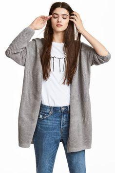 Cardigan in maglia a coste - Grigio mélange - DONNA | H&M IT 1