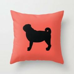 Pug Silhouette Pillow.  I suppose you could pick another breed for your pillow, but why would you? Pugs rule.