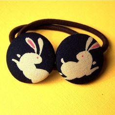 Rabbit Ponytail Elastics with Japanese Rabbit by MelissaAbram, $5.50