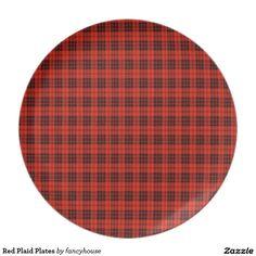Red Plaid Plates