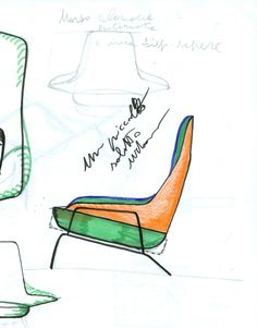 An early sketch of the lounge chair by designer Luca Nichetto. The form was inspired by a whale shark - hence the name Hai, Finnish for shark | Hem