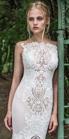 nurit hen 2017 bridal sleeveless bateau neck full embellishment elegant glamorous sheath wedding dress covered lace back chapel train (14) zv