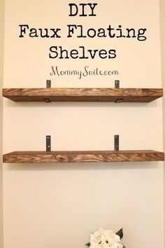 Diy faux floating shelves shelves room and house diy shelves and do it yourself shelving ideas diy faux floating shelves easy step by step shelf projects for bedroom bathroom closet wall kitchen solutioingenieria Images