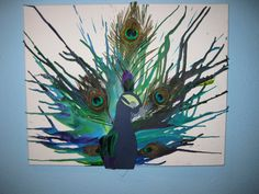 Melted crayons into a peacock