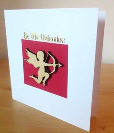 Be my valentine card - Cupid - Valentines card - Valentines - Valentines day - Valentines day card - for her, him,  boyfriend, husband, wife by FyneHandmadeCards on Etsy