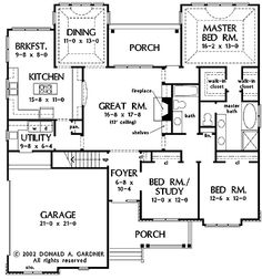 Floor Plans AFLFPW27019 - 1 Story French Country Home with 3 Bedrooms, 2 Bathrooms and 1,904 total Square Feet