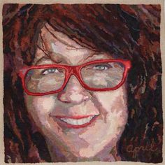 "Red Glasses 2016. 30""x30"". Hand-dyed wool on linen. Designed, dyed and hooked by April D. DeConick. Today I finished stretching and mounting my most recent portrait on a canvas-wrapped frame I assembled. It is a self-portrait called ""Red Glasses"". The finished rug is 30"" by 30"", so it is quite over-sized. The reason for this project was to develop a series of wool palette packs that can be used to teach portrait rug hooking in the Face Zone course that I am developing. The intent..."