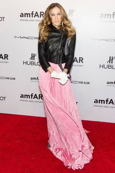 Sarah Jessica Parker perfects the ball gown, leather jacket mix-and-match