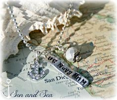 US Navy Mom hand stamped US Navy charm necklace by Son and Sea Free US shipping