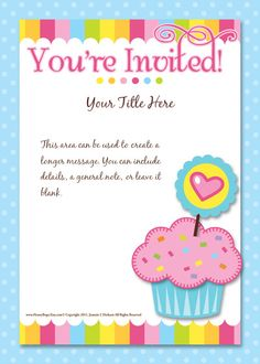 A cupcake decorating party invitation free printable cake party pingg design youre invited cupcake filmwisefo Gallery