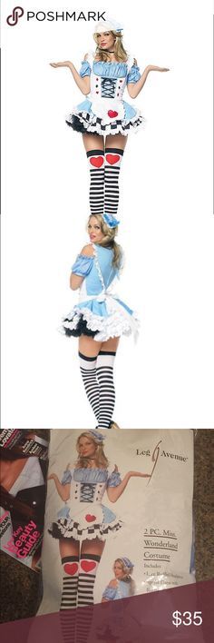 The Miss Wonderland adult womens costume Small Step through the looking glass and into this stunning Miss Wonderland adult womens costume. You'll break and steal hearts in the sexy light blue dress with checkerboard hem, apron with stitched heart, complete with a blue and white, lace ruffled headpiece.  The Miss Wonderland adult womens costume includes: New in package  • Dress • Headpiece • Note:  Shoes, choker and thigh highs not included • Size Small Materials: • 100% polyester leg avenue…
