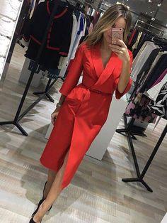 Lapel Lace-Up Plain Blazer Dress 13113193 - Casual Dresses - Fancywe.Com