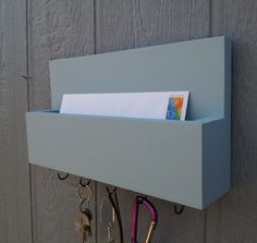 Mail and Key Rack / Mail Organizer / Mail and Key Holder / Key Hooks / Painted - Clear Vista / Baby Blue by CedarOaks on Etsy https://www.etsy.com/listing/183393880/mail-and-key-rack-mail-organizer-mail