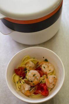 Microwave Shrimp Scampi, the quick dinner recipe you've been looking for. Just a few simple ingredients creates one delicious seafood pasta dish. Using gluten free spaghetti, but no one will taste the difference. Seafood Pasta Dishes, Quick Dinner Recipes, Scampi, Fresh Garlic, Microwave, Shrimp, Spaghetti, Curry, Gluten Free