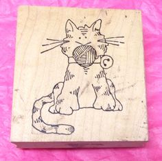 Cat with yarn in mouth rubber stamp Humor funny kitty cats wood mounted pets #unknown #CatsHumor