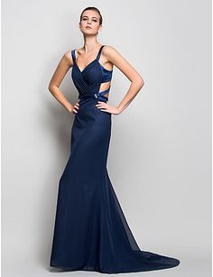 8c59a4eef4   107.89  Mermaid   Trumpet Straps Sweep   Brush Train Chiffon Beautiful  Back Formal Evening Dress with Side Draping by TS Couture®