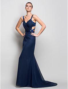Trumpet/Mermaid Straps Natural Sweep/Brush Train Chiffon Evening Dress(723485) – GBP £ 94.89