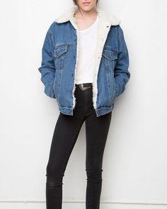 1319c4e8ee03d oversized denim jacket fleeced lined faux fur coats. Early Black Friday  Sale on 5th