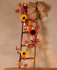 Lighted Harvest Fall Wooden Ladder Decor Sunflower Vine Autumn Thanksgiving Country Primitive Home Accent Decoration