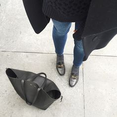 Minimalist style - Acne skinny jeans, black Celine tote and Gucci horsebit loafers - thefashionalist